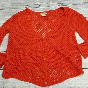 Lucky Brand open knit orange sweater cardigan M